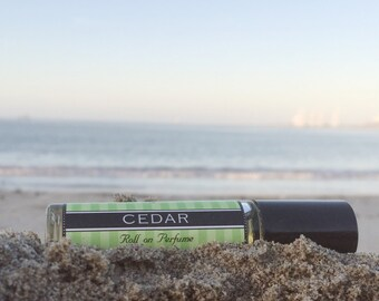 CEDAR scented roll on perfume // rich deep fragrance that's a Birthday gift for him or her // long lasting perfume