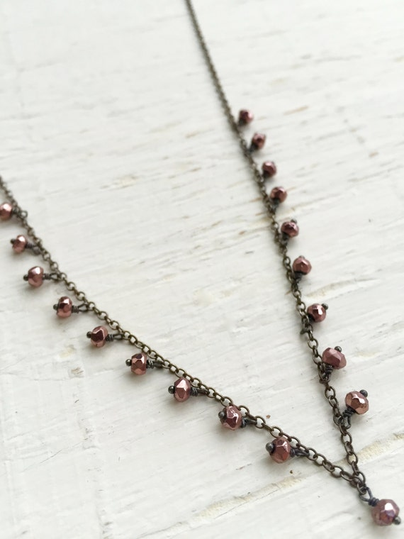 Pink Pyrite Dangle Necklace , Minimalist , For Her , Wedding , Vitality , Protection , Simple Necklace, Heart Chakra