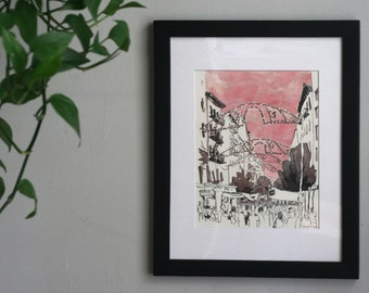 The Feast of San Gennaro - Little Italy NYC Original Painting - Mixed Media Ready to Frame Artwork