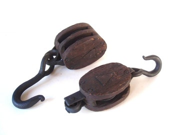 Pair of Antique Barn Pulleys/ Primitive Double Pulley/ Wood Block & Iron Pulley/ Barn Salavage/ Rustic Industrial/ Barn Pulley Block Tackle