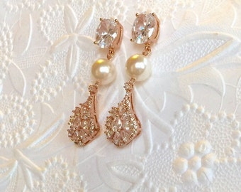 Bridal 14K Rose Gold Filled Earrings,High Quality CZ Earrings,Your Choice Swarovski Crystal Pearls,Brilliantly CZ Encrusted Teardrops