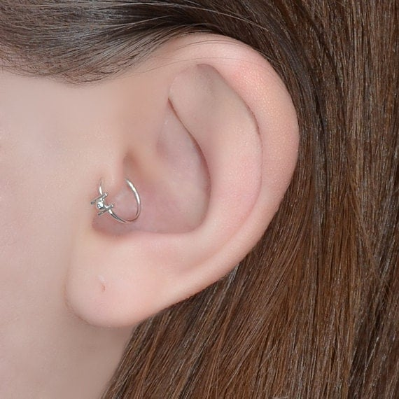 Tragus Earring - Silver Nose Piercing - Nose Ring - Helix Ring - Tragus Hoop - Daith Piercing - Cartilage Ring - Rook - Nose Ring 20g