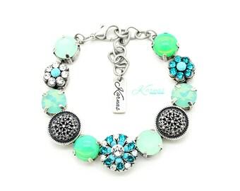 MAKING WAVES Mixed Size & 47ss Crystal Bracelet Made With Swarovski Elements *Antique Silver *Karnas Design Studio *Free Shipping
