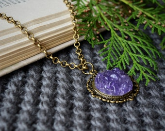 Amethyst necklace Stone necklace Amethyst pendant Crystal Necklace Gift for her mom Everyday Boho necklace Purple necklace Stone pendant