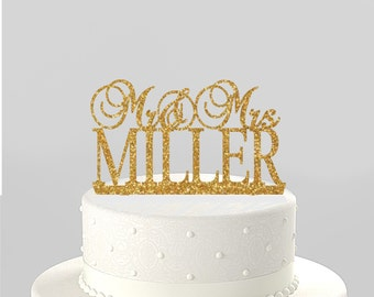 Wedding Cake Topper Mr & Mrs Personalized with Last Name, Acrylic Cake Topper [CT32]]