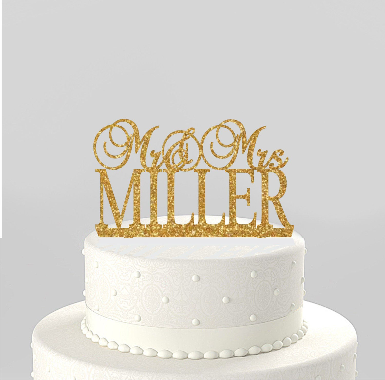 Wedding Cake Topper Mr & Mrs Personalized with Last Name