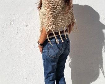 Fringes poncho, boho style, organic cotton, boho chic poncho, hand knit, loose knit, summer knitwear, women poncho, summer poncho.
