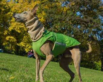 Greyhound / Whippet Extra Warm Winter Dog Coat with underbelly protection - Waterproof / Fleece Coat + turtleneck / snood - MADE TO ORDER