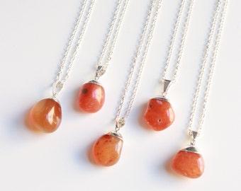 Carnelian Necklace, Raw Stone Jewelry, Gemstone Necklace, Tumbled Gemstone, Boho Necklace, Stone Necklace, Long Necklace, Bridesmaid Gift
