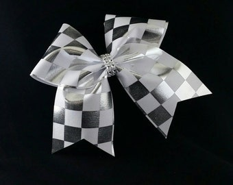 Cheer bows, Silver cheer bow, Checkered cheer bow, Cheer bow, softball bow, cheerleader bow, large cheer bow, dance bow, big cheer bow, bow