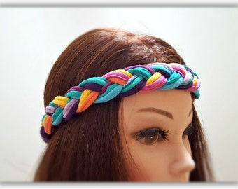 Hot trend! Braided Vibrant Headband Colorful Headband Summer Headwrap Pink Comfy Headband Bright Headband Cotton Headband Soft Headband