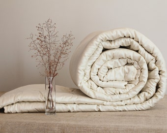 KING COMFORTER - cool comfort, light duvet with organic wool filling, wool blanket, duvet cover insert, wool quilt, bedding, custom made