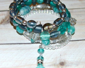 Teal, Aqua, & Gunmetal Sea Glass Wrap Bracelet