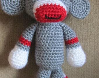 Handmade  Crocheted Toy Sock Monkey