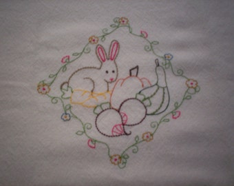 Bunny and Vegetables Embroidered Tea Towel, Bunny Towel, Embroidered Tea Towel, Embroidered Flour Sack Towel