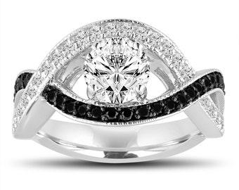 Unique Diamond Engagement Ring, 1.32 Carat White and Black Diamond Bridal Ring, GIA Certified Wedding Ring 14k White Gold Halo Pave Handmade