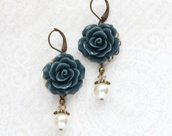 Navy Blue Earrings Bridesmaids Gift Ivory Cream Pearl Drop Leverback Earrings Dark Blue Wedding Nickel Free Vintage Style Rose Dangle