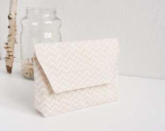 Hand-Printed Pouch, Organic Cotton, Gift, White Pouch, Cosmetic Pouch,