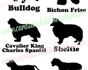 Dogs SVG - Sheltie - Bulldog - Bichon Frise - Basset Hound - King Charles - Digital Cut File - Instant Download - Svg, Dxf, Jpg, Eps, Png