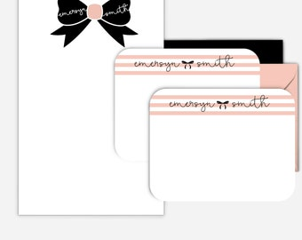 Bow Personalized Stationary Set Personalized Notepad Personalized Notecards Gift For Her Monogram Stationery Set Notepad and Note Card Set