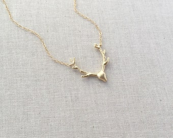 Gold Deer Antler Necklace, Deer Necklace, 14k Gold Filled Chain, Layering Necklace, Gift For Her, Christmas Gift, Holiday Jewelry