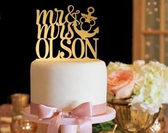 Mickey Cake Topper - Anchor Wedding Cake Topper - Mr & Mrs Cake Topper