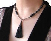 SILK Tassel & Snowflake Obsidian Necklace-Tassel Necklace, Silk Necklace, Black Necklace, Beaded Necklace, Black Silk Tassel, Black Tassel