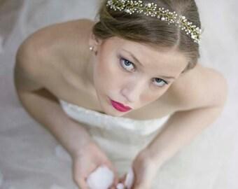 Pearl Crystal Hair Vine,Boho Crown,Bridal Halo Headband,Boho Gold Hair Halo,Wedding Hair Vines And Headbands,Bridal Gold Crown,Bridal Halo
