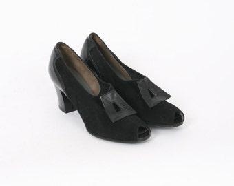 Black Leather Womens US 9.5 Aaa Soft Suede Peep Toe 1960 Vintage Retro Block Heel Pumps 60s Formal Narrow Au 8.5 Shoes