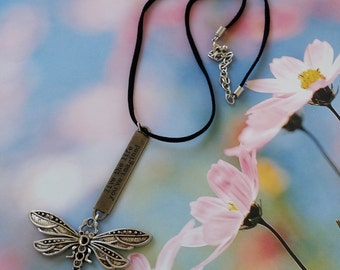 """Inspirational """"Live the Life You've Imagined"""" Silver/Black Metal Dragonfly Necklace, Tim Holtz Pewter Word Band, Black Leather+Silver Chain"""