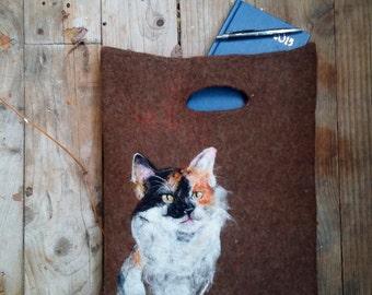 Felted Cat bag Cat purse Felt bag Art handbag Cat handbag Felted purse Women messenger bag