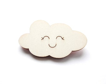 Cloud brooch, Wooden brooch, Wooden jewelry, Cloud pin, Happy cloud, Cloud jewelry