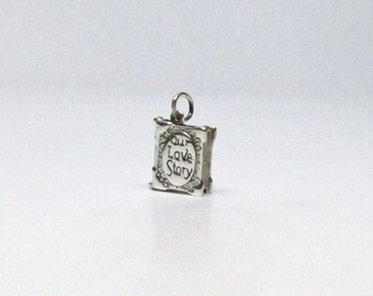 OUR LOVE STORY, Charm, Anniversary Gift, Girlfriend Gift, Gift for Her, Engagement Gift, Wife Gift, Sterling Silver, Enameled, Wedding