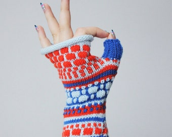 Merino wool fingerless, funny gloves, colorful arm warmers, exciting tennagers fingerless, Christmas gift for her