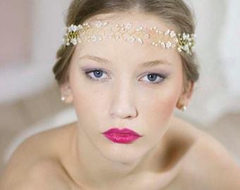 Gold Hair Vine,Flower Hair Vine,Wedding Forehead Headband,Wedding Flower Hair Vine,Bridal Halo Crown,Wedding Gold Tiara,Bridal Gold Crown