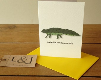 Newt, cute animal card, funny alphabet animal card, greeting card for children, hand illustrated card, green newt card, lizard illustration