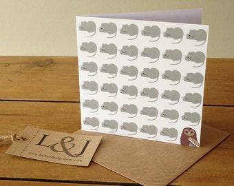 Nature Lover Card - Wildlife Card - Woodland Greeting - Wildlife Note Card - Owl Greeting Card - Mouse Greeting Card - Owl Card - Mouse Card