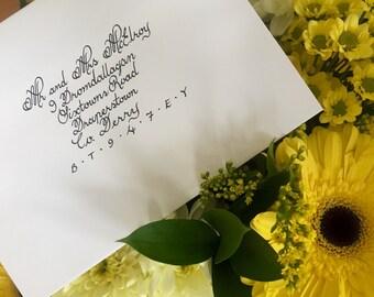 Stylish Addressing Envelopes Handwritten in Calligraphy - Wedding Invitation, Christmas cards, Christening, etc.