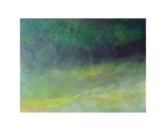 green black unusual Trees painting French Landscape Forest Meadow Nature Artwork Wall art Home decor Original gift for men women office