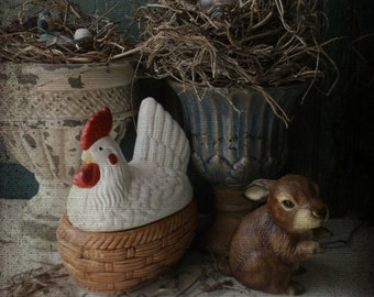 Nesting Hen. Ceramic Hen Basket Dish. French country cottage tabletop decor. Rustic Farmhouse