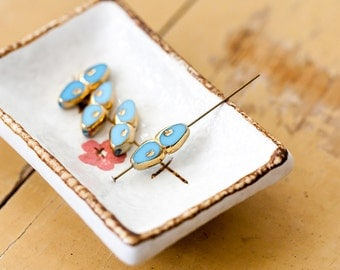Vintage Slice Beads Sky Blue and Gold Double Arrows Window Slice Glass Beads 20mm