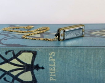 Miniature Woodstock Harmonica Musical Necklace, Vintage Working Harmonica Pendant Charm Chain Gold Chain Necklace