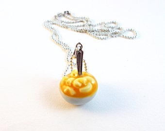 Mac'n'Cheese Necklace, Polymer clay Macaroni and Cheese