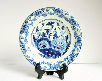 Vintage Delft DP Blue and White Floral Hanging Plate