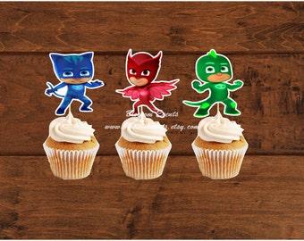12 PJ Mask Cupcake Toppers