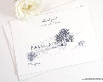 Palm Springs Skyline Wedding Thank You Cards, Personal Note Cards, Bridal Shower Thank you Cards (set of 25 cards)