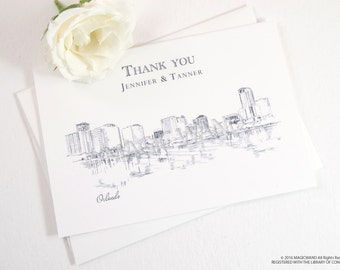 Orlando Skyline Wedding Thank You Cards, Personal Note Cards, Bridal Shower Thank you Cards (set of 25 cards)