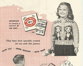 Vintage MARY MAXIM Knitting  Pattern:   Graph-Style - The Puppies - Kiddies' CARDIGAN - Sizes 4 and 6 - No. 468 - Copyright 1957