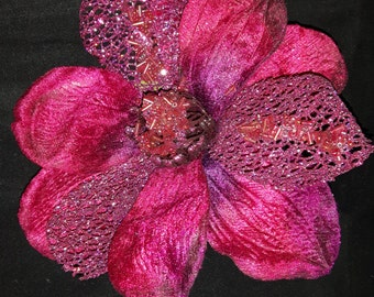 Beautiful Large Mother of the Brides Corsage in Deep Pink Velvet with pretty beaded detail.....15cm Wide. With Safety Catch