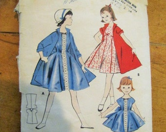 Vintage Pattern Girls 1950's Princess Dress and Coat